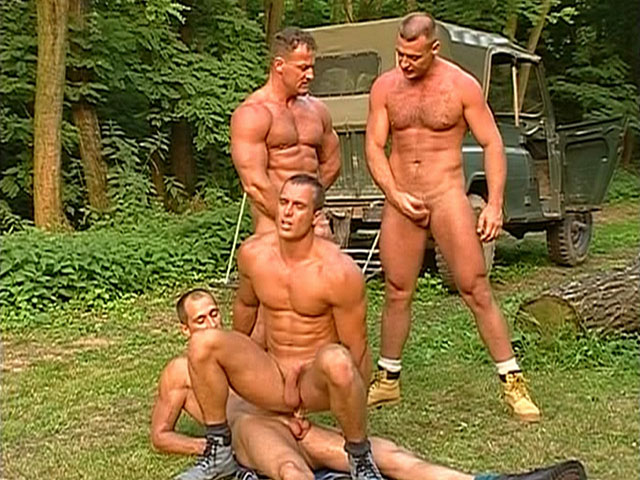 Hunky Gay Outdoor Foursome 1